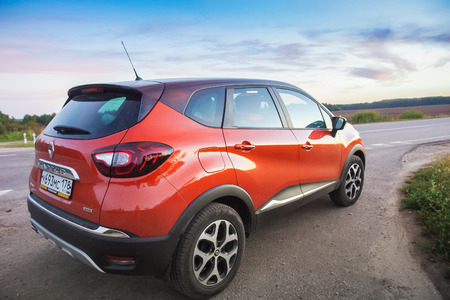 Novorossiysk, Russia - August 26, 2016: Renault Kaptur on highway. It is a Russian version of subcompact crossover Renault Captur with extended wheelbase, elevated ground clearance and four-wheel-drive Editorial