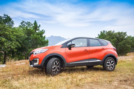 Novorossiysk, Russia - August 21, 2016: Renault Kaptur. It is a Russian version of subcompact crossover Renault Captur car with extended wheelbase, elevated ground clearance and four-wheel-drive