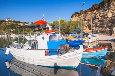 Wooden fishing boats moored in bay of Tsilivi. Zakynthos, Greek island in the Ionian Sea