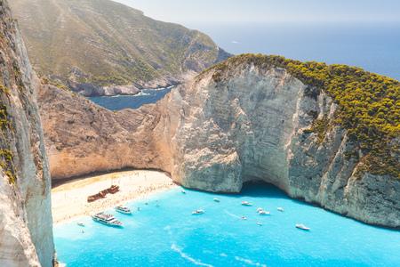 touristic: Navagio beach. The most famous natural touristic landmark of Greek island Zakynthos in the Ionian Sea