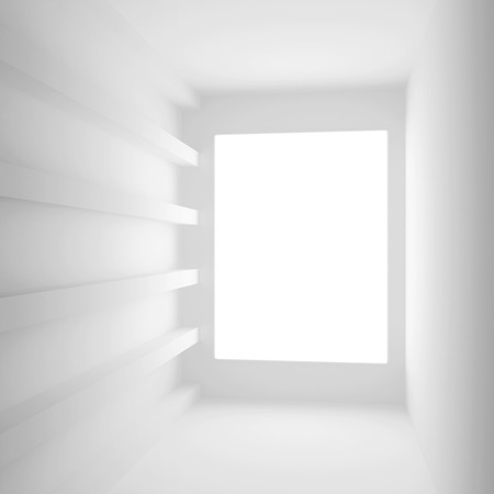 empty window: White abstract interior with empty window. Square 3d illustration Stock Photo