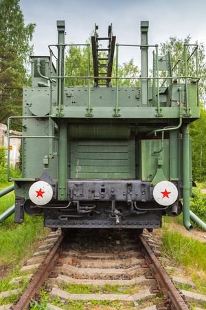 Soviet historical military monument in Krasnaya Gorka fort. TM-1-180 Railway Gun, front view