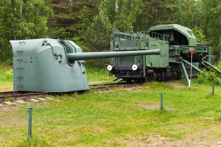 Soviet historical military monument in Krasnaya Gorka fort. TM-1-180 Railway Gun and cannon