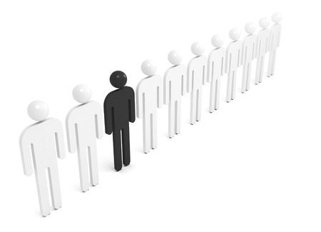one people: Row of white abstract people with one black individual figure, 3d illustration Stock Photo