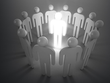 one people: Creativity idea metaphor. One shining man stand in round of ordinary people, 3d illustration