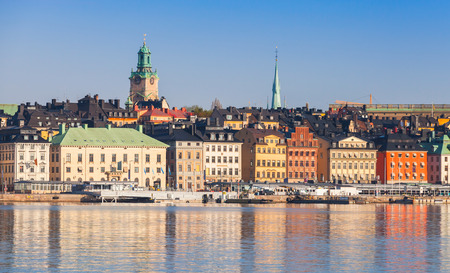 stan: Morning cityscape of Gamla Stan city district in central old Stockholm