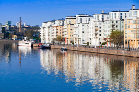 residential area: Cityscape with modern living houses in Stockholm. Sodermalm district, Masthamnen embankment Stock Photo