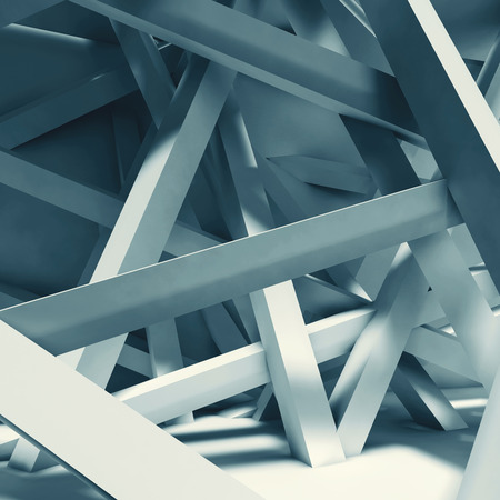 girders: Abstract interior background. Chaotic beams installation in empty room. Blue toned 3d illustration, computer graphic