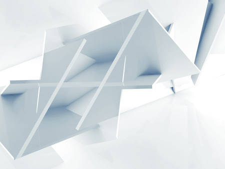 blue 3d blocks: Abstract 3 d background, chaotic polygonal blocks pattern. Blue toned 3d illustration, computer graphic Stock Photo