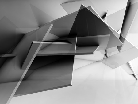 3d cg: Abstract cg background. Chaotically polygonal structure installation. 3d illustration, computer graphic