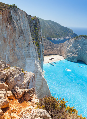 ship wreck: Vertical landscape of Navagio bay and Ship Wreck beach. The most famous natural landmark of Zakynthos, Greek island in the Ionian Sea