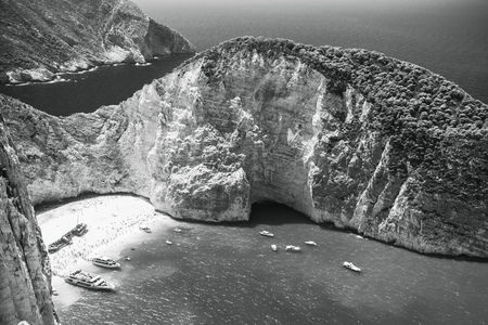 ship wreck: Monochrome landscape of Navagio bay and Ship Wreck beach. The most famous natural landmark of Zakynthos, Greek island in the Ionian Sea