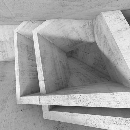 cubic: Abstract white concrete room with cubic structures installation. Square architecture background, 3d illustration