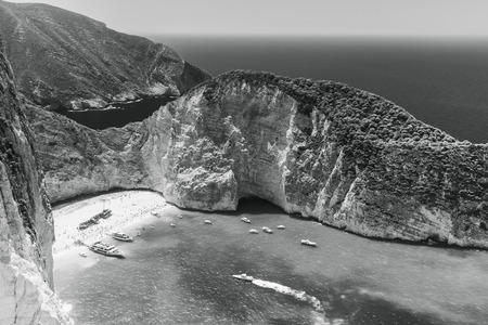 ship wreck: Black and white landscape of Navagio bay and Ship Wreck beach. The most famous natural landmark of Zakynthos, Greek island in the Ionian Sea