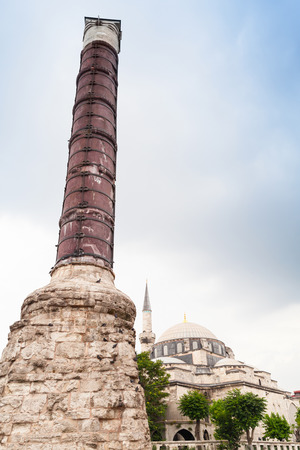 Column of Constantine also known as the Burnt Stone or the Burnt Pillar, is a Roman monumental column constructed on the orders of the emperor Constantine the Great. Landmark of Istanbul, Turkey Stock Photo