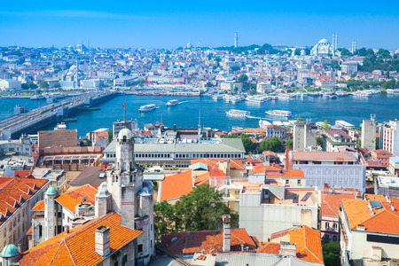 Istanbul, Turkey. Summer cityscape with bridge over Golden Horn a major urban waterway and the primary inlet of the Bosphorus. Photo taken from upper viewpoint of Galata tower