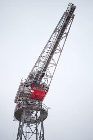 winter finland: Industrial port crane in winter, Port of Turku, Finland