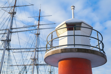 winter finland: Lighthouse tower in port of Turku, Finland. Cold winter day Stock Photo