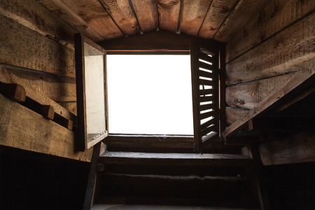 attic window: Empty attic window with white background in old grunge wooden interior Stock Photo