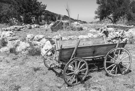 carreta madera: Vacío viejo vagón de madera rural, foto blanco y negro