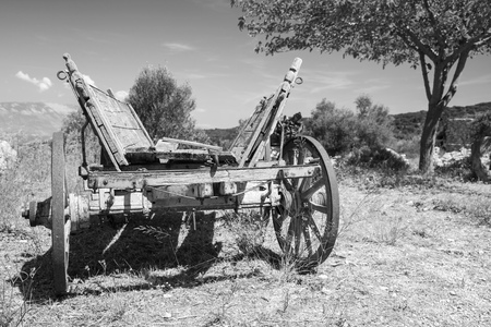 carreta madera: Empty old rural wooden wagon, close up black and white photo Foto de archivo