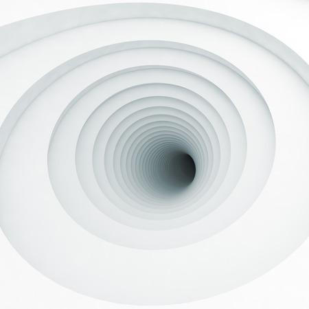 Abstract square digital background, white vortex tunnel interior with dark end, 3d illustration
