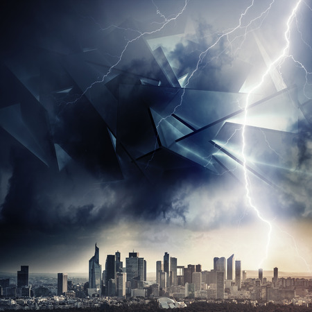 Chaotically huge broken spaceship constructions in stormy clouds over modern cityscape, dramatic alien invasion concept illustration with 3d render elements