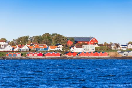 scandinavia: Colorful wooden houses on sea coast. Brekstad, Norway Stock Photo