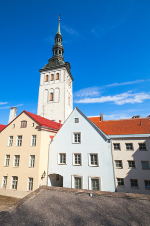 Old town of Tallinn, Estonia. Vertical skyline photo with colorful houses and St. Nicholas Church, Niguliste Museum
