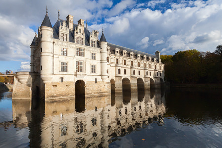 The Chateau de Chenonceau, medieval french castle, Loire Valley, France. It was built in 15-16 century, an architectural mixture of late Gothic and early Renaissance. Unesco heritage site