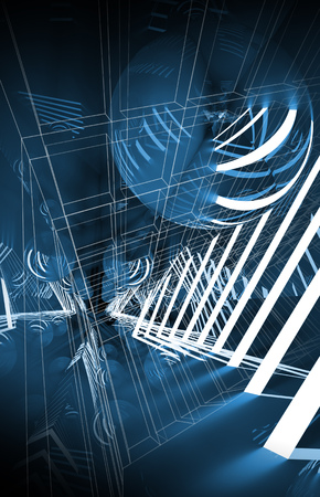 ball lights: Abstract vertical digital background, blue tunnel with neon lights and mirror ball, 3d illustration Stock Photo
