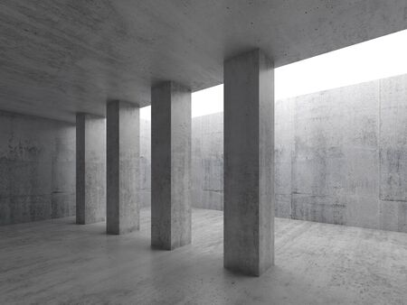 concrete construction: Abstract architecture background, empty interior with concrete columns and white ceiling window, 3d illustration