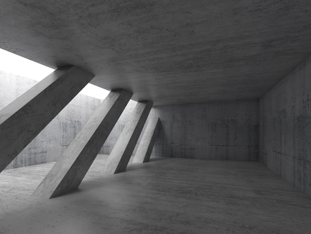 wide angle: Abstract architecture background, empty concrete interior with diagonal columns and white ceiling window. 3d illustration Stock Photo