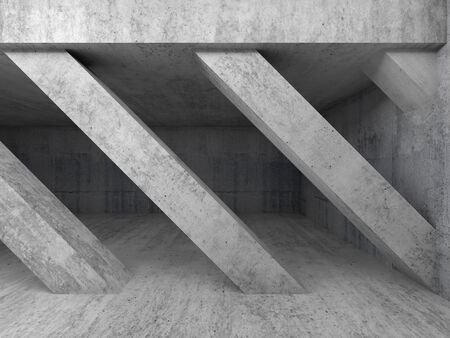 wide angle: Abstract architecture background, empty interior with diagonal concrete columns. 3d illustration Stock Photo
