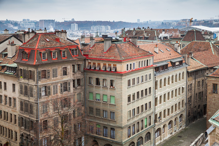 Geneva city, Switzerland. Cityscape of old central area, photo taken from St. Pierre Cathedral viewpoint