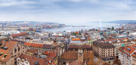 Geneva city, Switzerland. Panoramic cityscape of old central area and Geneva Lake, photo taken from St. Pierre Cathedral viewpoint Stock Photo