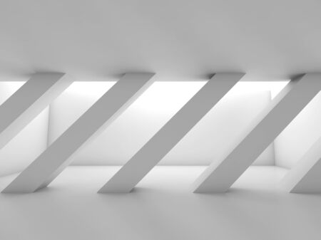 girders: Abstract white empty room with diagonal columns in a row, blank interior background, 3d illustration