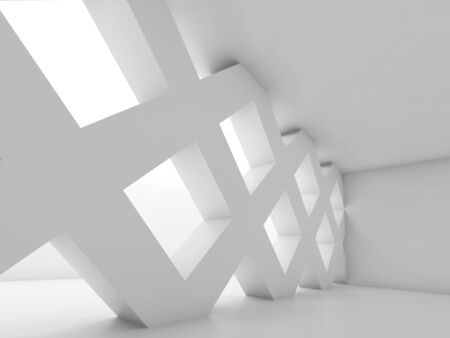 girders: Abstract white empty room with partition made of square cell girders, blank interior background, 3d illustration