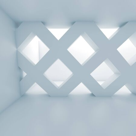 girders: Abstract empty room with partition made of square cell girders, interior background, blue toned 3d illustration