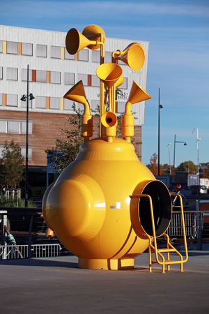 Trondheim, Norway - October 17, 2016: Modern sculpture What Does the Fjord Say. Made by artist Stale Sorensen, it was inspired by Beatles Yellow Submarine Editorial