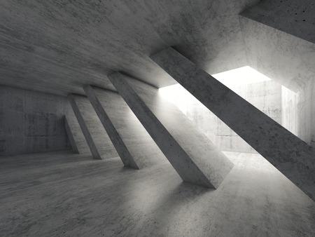 architecture abstract: Abstract architecture background, empty rough concrete interior with diagonal columns. 3d illustration