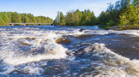 Langinkoski, fast running river water. Kotka, Finland Stock Photo