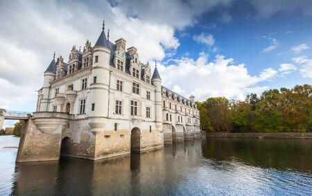 Chenonceau, France - November 6, 2016: Chateau de Chenonceau on the river, medieval castle, Loire Valley. It was built in 15 century, mixture of late Gothic and early Renaissance Editorial