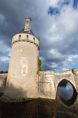 Chenonceau, France - November 6, 2016: Tower of Chateau de Chenonceau, medieval castle, Loire Valley. It was built in 15 century. Unesco heritage site