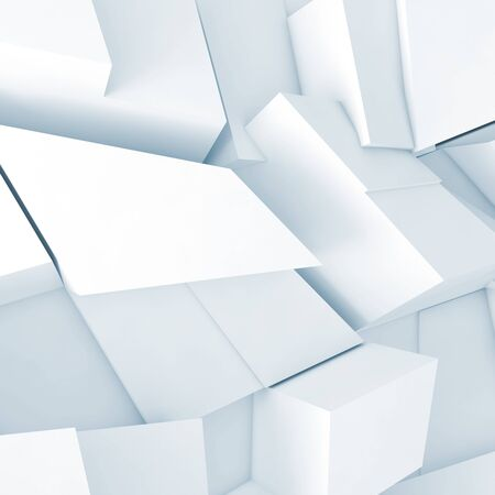 fragments: Abstract square digital background, white chaotic fragments pattern with soft blue shadows, 3d illustration