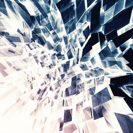 fragments: Abstract square digital background, chaotic colorful shining polygonal fragments pattern, 3d illustration Stock Photo