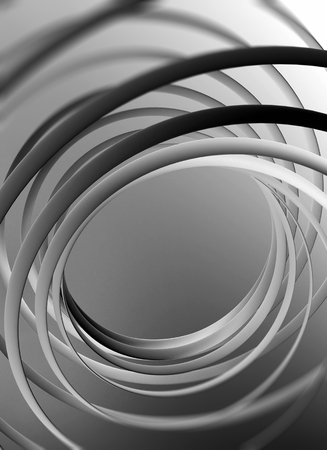 Abstract vertical digital background, spiral structures with selective focus, 3d illustration useful as a wallpaper pattern for electronic mobile devices