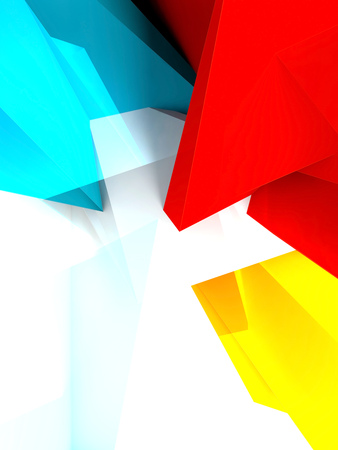 3d: Abstract digital background, bright colorful polygonal pattern over white wall, 3d illustration