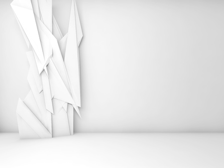 render: Abstract white interior background, chaotic polygonal decoration wallpaper on front wall, 3d render