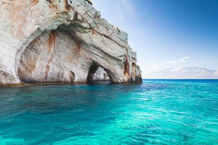 arcos de piedra: Blue caves, coastal rocks of Greek island Zakynthos with stone arches natural landmark, popular touristic destination